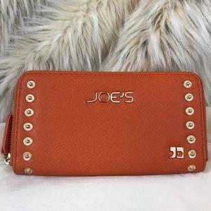 NWOT Joes orange wallet zip up gold